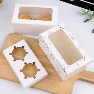 White Kraft Paper Color Bakery Cookie Cake Piece Boxes Package Decor Box