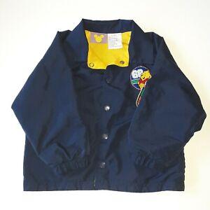 Vintage Disney Boys Jacket Size 3T Snap Windbreaker Winnie Pooh Soccer Woodsman