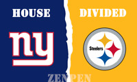 New York Giants vs Pittsburgh Steelers House Divided Flag Banner 3x5 ft 2019 NEW