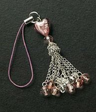 Dangle Purple Heart Bead Christmas Gift Crystals Cell Phone Charm Free Shipping