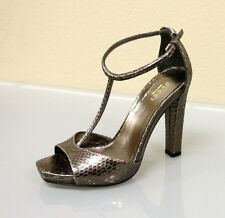 $995 New Authentic GUCCI Python Platform Sandals SHOES 40.5/10.5 Metallic