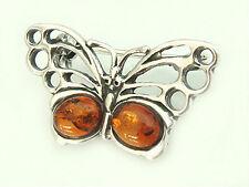 Brosche Silber 925 Schmetterling mit Bernstein Silberbrosche Silberschmetterling
