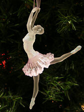 KURT S. ADLER CLEAR & PINK FROSTED ACRYLIC BALLERINA BALLET DANCER XMAS ORNAMENT