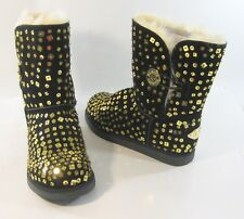 Black/Gold Sequin Round Toe Comfortable Winter Ankle Boot Size 8