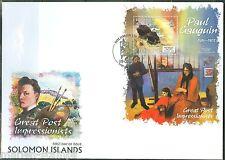 SOLOMON ISLANDS 2013 GREAT IMPRESSIONISTS  PAUL GAUGIN SOUVENIR SHEET FDC