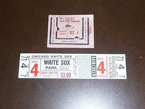 1964 K.C. A'S AT WHITE SOX FULL TICKET NR MINT. LAST GAME OF THE SEASON