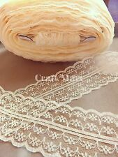 VINTAGE white black red peach Ivory blue LACE RIBBON TRIM 40mmWIDE BRIDAL CRAFTS