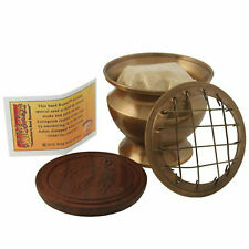 Small Sand Brass Incense Brass Burner W/ Wood Plate sticks or cones Sbsbw