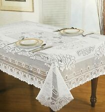 "Neva Lace Tablecloths Cream Or White 54x54"" 54x72"" 54x90"" 66"" Round - LAST FEW"