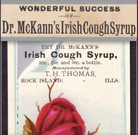 Dr McKanns Irish Cough Syrup 19th Century Patent Medicine Bottle Cure Trade Card