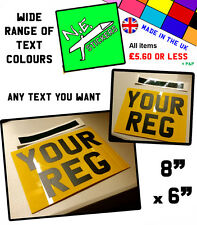 "8""X6"" (203mmx153mm) MOTORCYCLE BIKE SHOW NUMBER PLATE REGISTRATION off road"