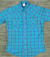Wrangler Men's Cowyboy Western Pearl Snap Shirt Plaid Medium M Blue White
