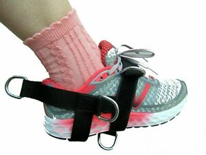BLACK 5-D Ankle/Foot Shoe Strap  5 -Ring Cable Gym Machine Attch UNISEX