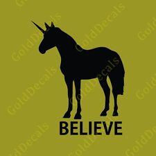 Believe Unicorn - Vinyl Decal Car Truck Mac Sticker Animal Funny Rainbow