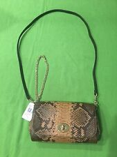 NWT, COACH Brown Snakeskin Pattern Leather Clutch Purse, Strap, Chain, $395.