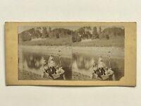 Scena Da Genere Femmes Nel Una Barca Foto Stereo Vintage Albumina c1860