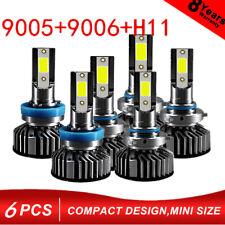 6 Combo 9005+H11+9006 60000LM COB LED Headlight Kit Hi/Low Beam Bulb 6000K White