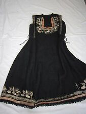 18TH CENTURY DRESS TUNIC OVERDRESS BLACK WOOL SILVER THREADS/ ORIGINAL #ANTIQUE