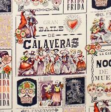 """1m MENSILE DE """"Calaveras"""" TEA Melanzana tessuto al metro-Alexander Henry teschio Danc"""