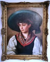 Portrait of a Beautiful Spanish Girl Lady, Signed Large Antique Oil Painting