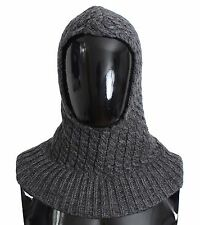 NWT $500 DOLCE & GABBANA Gray Wool Blend Knitted Crochet Hood Scarf Hat One Size