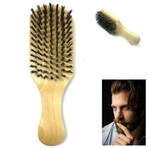 1 Men Boar Hair Brush Bristle Beard Mustache Soft Hard Palm Round Wood Handle
