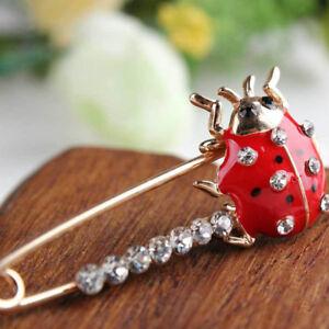 Large Gold Safety Pin Crysta Ladybug Diamante Scarf Shawl Brooch Corsage