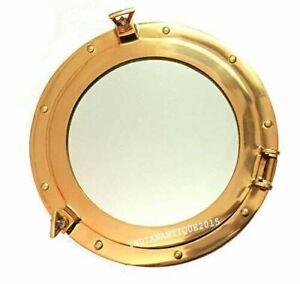 "20 ""Brass Porthole Nautical Maritime Ship Boat Wall Mirror Home Decor Christmas"