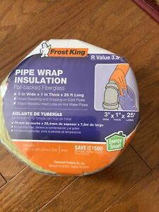 """PIPE WRAP INSULATION COLD & HOT WATER EXTREME WEATHER FIBERGLASS 3""""W 1""""T 25'L"""