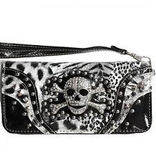 Skull & Crossbones Wristlet Wallet Black & White Leopard Print New Wrist Strap