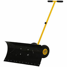 "Outsunny Steel Adjustable Rolling Snow Shovel Pusher W/ 10"" Rubber Wheels Yellow"
