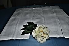 TABLECLOTH ITS OLD + 12 NAPKINS LINEN EMBROIDERED P.M DAMASK GARLANDS FLOWERS