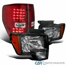 Ford 09-14 F150 Pickup Black Headlights+Red/Clear LED Tail Lamps Replacement