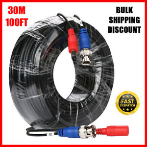 30m 100ft BNC DC CCTV Cable Security Video Camera DVR Data Power RG59 Extension