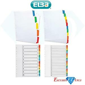 Elba A4 Index Coloured Reinforced Card Dividers/Indices/Tabs School & Work File