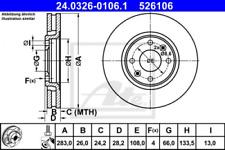 2x Bremsscheibe für Bremsanlage Vorderachse ATE 24.0326-0106.1