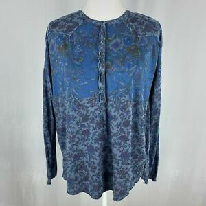 LUCKY BRAND Blue Red Floral Long Sleeve Boho Top Medium Western Peasant New