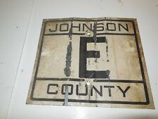 "Metal 1950s Johnson County Road Sign Highway E Missouri State Sign Vtg 12""x10"""
