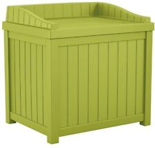 Small Storage Seat Deck Box 22 Gal Green Outdoor Indoor Furniture Resin Patio