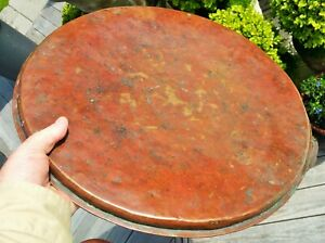 """18 1/2"""" COPPER TRAY antique silver wash islamic moroccan vtg african table art"""