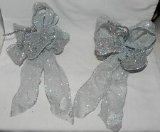 """Big Wedding Glitter Bows Michaels Stores 12"""" by 9"""" Silver Color 2 ea 11D"""