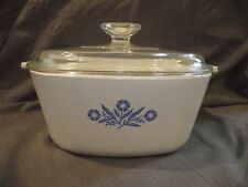 Corning Cornflower Blue 2 1/2 Qt Square Covered Casserole P-2 1/2-B w/Large Knob