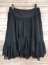 Free People Skirt Womens M Medium Sheer Full Tiered Ruffle Ballet Black Boho