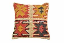Hand Woven Jute Kilim Cushion Cover Indian Vintage Pillows 18X18 Rug Boho Shams