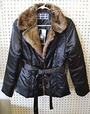 NEW Black JACKET Faux Fur WOMEN SZ Medium Sugarcoat Inc Out 2 Wear Tie Belt Coat
