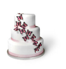20 Pre Cut Black and Pink Butterflies Edible Wafer Paper Cake Toppers
