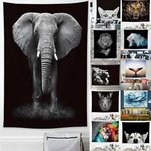 3D Animals Printed Wall Hanging Tapestry Mandala Hippie Throw Cover Home Decor