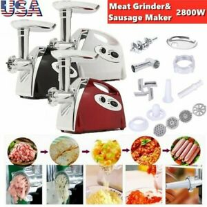 2800W Electric Meat Grinder Sausage Stuffer Maker Stainless Cutter with Handle