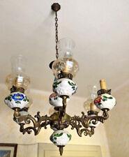 Lampadario soffitto ceramica ottone vetro liberty chandelier 6 luci dipinto