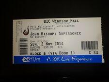John Bishop Supersonic Tour Used Concert Ticket BIC Bournemouth November 2014